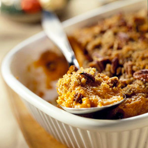 spoon serving no-fuss sweet potatoe casserole