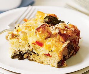 Sausage, Spinach and Swiss Strata