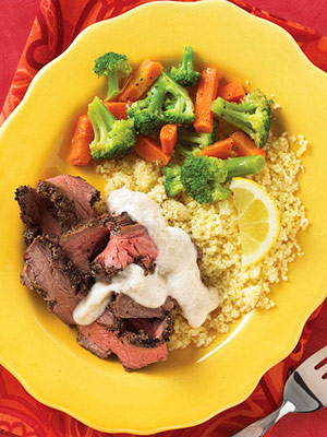 Cracked-Pepper Steak with Yogurt-Lime Sauce
