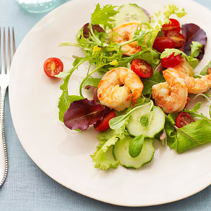 Shrimp salad with scallion dressing
