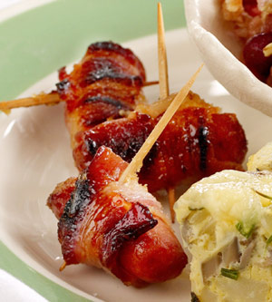 Sugared Bacon Wrapped Smokies