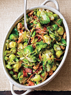 Brussels Sprouts Leaves With With Bacon and Walnuts