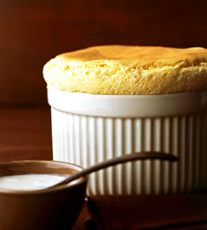 Vanilla Bean Souffle with Quick Vanilla Custard Sauce