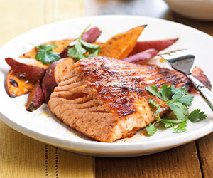 Ancho-Glazed Salmon With Sweet Potato Fries