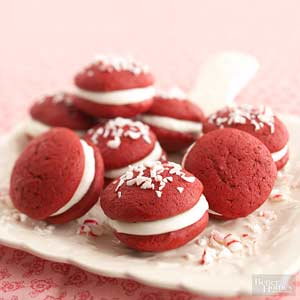 Red Velvet Whoopie Pies w/Peppermint Filling