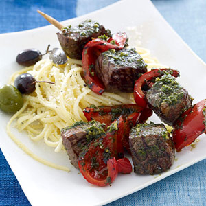 Beef Pepper And Pesto Kabobs