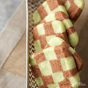 Chocolate Mint Checkerboard Cookies