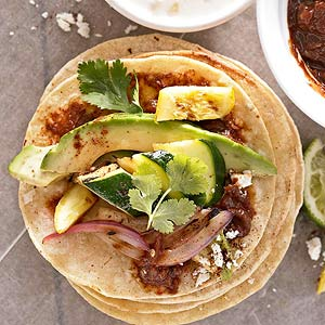 Grilled Vegetable Tostadas with Quick Mole Sauce