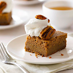 Applesauce Cake with Caramel Sauce