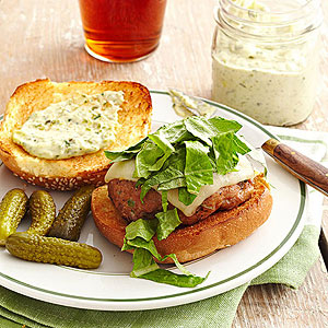 Turkey Burgers with Poblano Pesto Aioli
