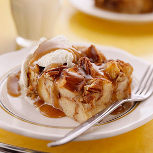 Bread Pudding with Maple Banana Sauce