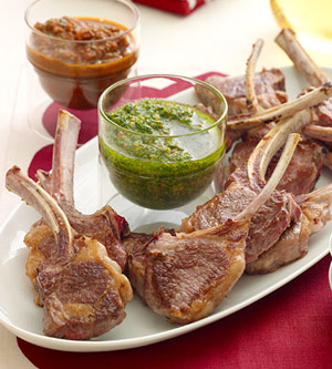 Baby Lamb Chops With Red and Green Sauces