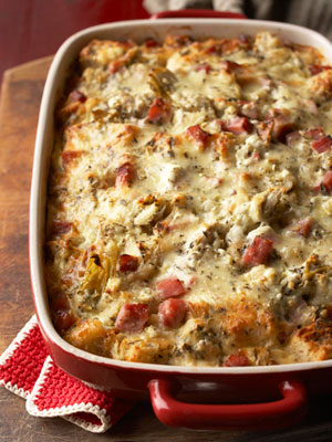 Goat Cheese, Artichoke and Smoked Ham Strata