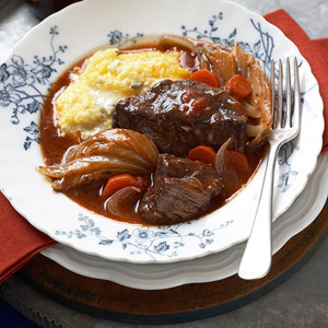 Short Ribs over Cheesy Polenta