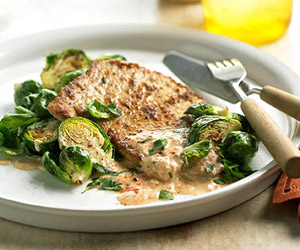 Pork Cutlets with Brussels Sprouts
