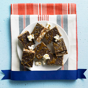 Caramel and Chocolate Kettle Corn Crispie Bars