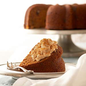Spiced Pecan Sweet Potato Cake with Maple Whipped Cream Cheese