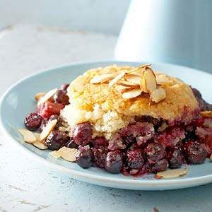 Orange Laced Blueberry-Rhubarb Skillet Cobbler with Almond Biscuits