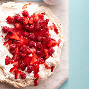 Pistachio Pavlova with Fresh Strawberries