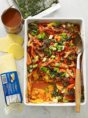 Spinach and Chicken Enchilada Bake