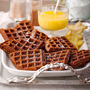 Gingerbread Waffles with Hot Lemon Curd Sauce