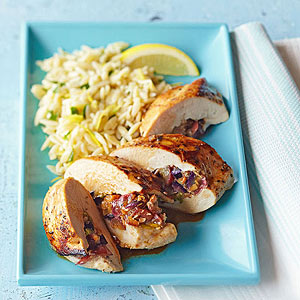 Grape-Stuffed Chicken Breasts with Lemon Orzo