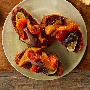 Tapenade toasts with roasted vegetables