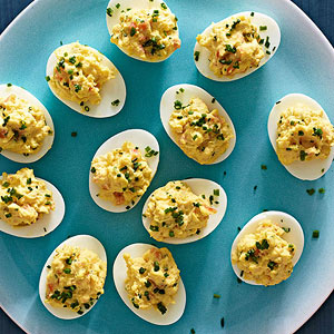 Smoked Salmon and Chive Deviled Eggs