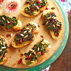 Sauteed Swiss Chard and Pine Nut Bruschetta