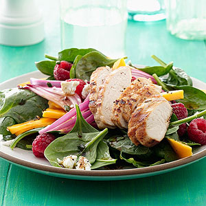 Mango raspberry grilled chicken salad