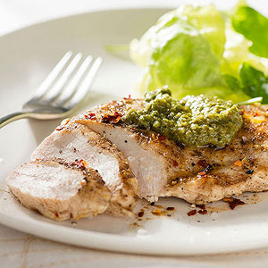 Lemon-cumin chicken with mint and spinach pesto