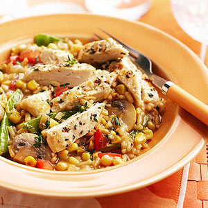 Corn-Mushroom Risotto with Chicken