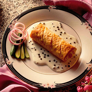 Salmon and Green Peppercorn Strudel