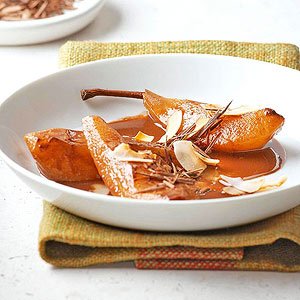 Coconut-Mocha Poached Pears