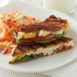Cheesy Tilapia Panini with Apple-Carrot Slaw