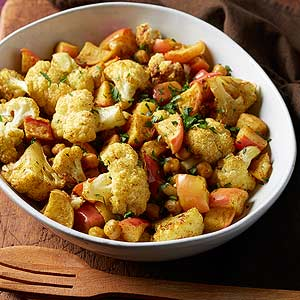 Curried Cauliflower, Apples and Chickpeas