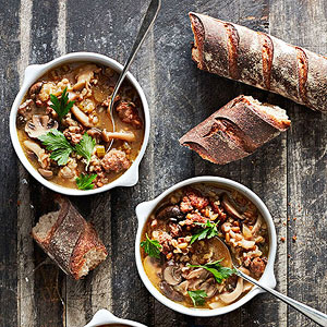 Mushrooms, Sausage and Whole Grain Soup