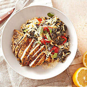 Greek Oregano Chicken with Spinach, Orzo, and Grape Tomatoes
