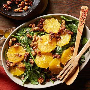 Blood Orange and Spinach Salad with Ginger-Spiced Walnuts