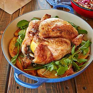 Grill-Roasted Chicken with Arugula and Crostini