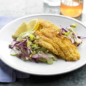 Gluten Free Crisp Catfish with Apple-Celery Slaw