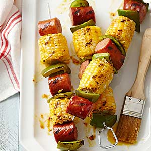 Mustardy Grilled Corn and Sausage Kabobs