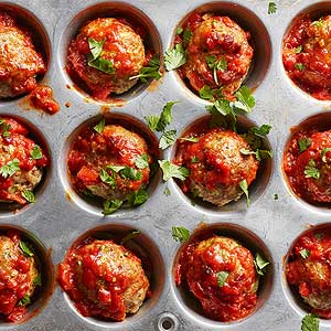 Mini Turkey Meat Loaves with Fiery Tunisian Sauce