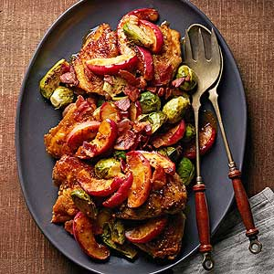 Cider-Braised Chicken, Brussels Sprouts and Apples