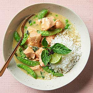 Thai Curried Salmon and Snap Peas