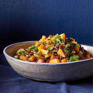 Wild Rice Stuffing with Squash and Mushrooms