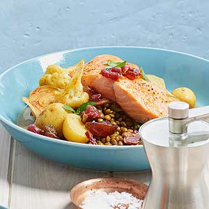 Salmon with Lentil Hash and Bacon