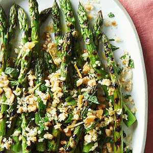 Grilled Asparagus with Minty Lemon and Walnut Crumbs