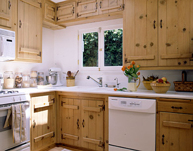 Do it yourself makeovers for wood cabinets for Bleached wood kitchen cabinets