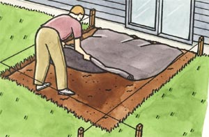 Measure And Cut Out A Piece Of Landscape Fabric Large Enough To Cover The  Patio. This Prevents Weeds From Working Their Way Up Through The Gravel.
